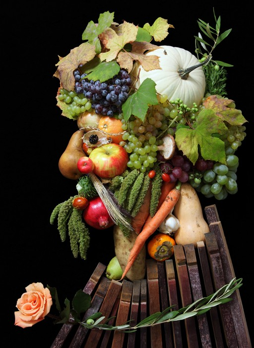 The Arcimboldo Series / by artist & photographer Klaus Enrique.      Words from the author: I had been working on a photography series in which I surround an isolated human body part with a large quantity of a certain object, when I was struck by the idea for this project. While I was photographing a human eye that was peeking out amongst hundreds of leaves, it occurred to me that I could actually utilize leaves to construct portraits or masks. I researched what other artists had created along these lines and discovered that, as usual, someone somewhere had already done something similar. In this case it was the artist Giuseppe Arcimboldo, who made paintings with this concept in mind over 400 years ago.