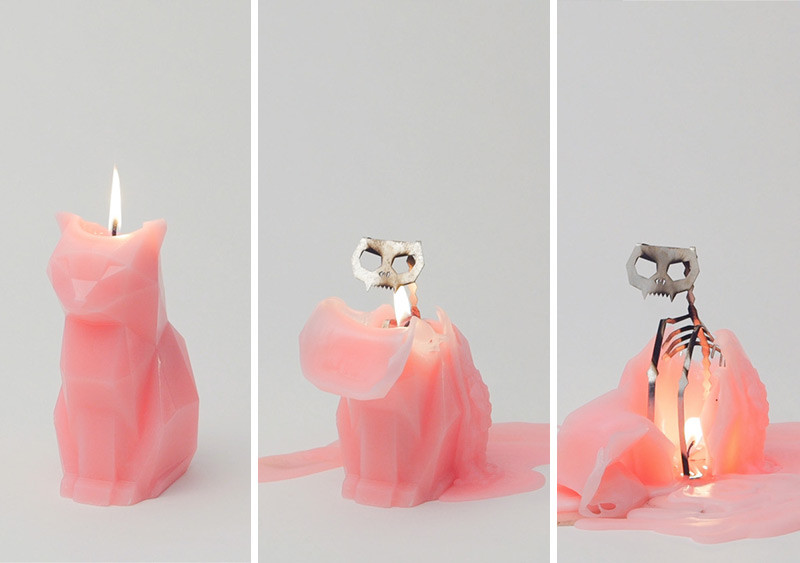 PyroPet Candles Melt into Creepy Metallic Skeletons (3)