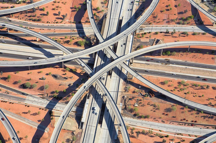 Great aerial photographs from the series 'Highway Interchanges' in which Canadian photographer Peter Andrew captures the delicate and complex web of modern day highways. Find more of this work on his Behance gallery.