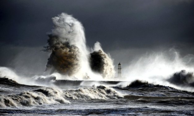 Spectacular photograph capturing northern gale force winds as they hit the harbour in Seaham, northeast England, baterring the seafront. Photograph by Owen Humphreys.