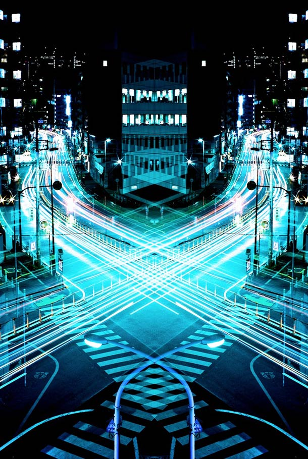 "'In his project ""Graffiti of Speed / Mirror Symmetry"", the Japanese photographer Shinichi Higashi offers striking images of Tokyo, by combining symmetry and long exposure with beautiful light trails.' Fantastic photographs between architecture and light painting (text by ufunk.net)"