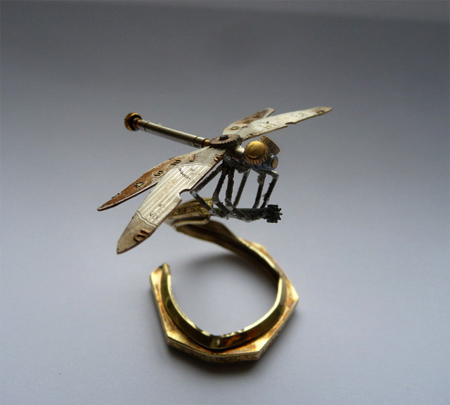 aMechanical arthropods and insects made from watch parts and light bulbs by Chicago-based jeweler Justin Gershenson-Gates
