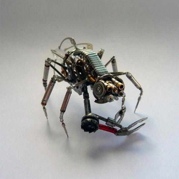 Mechanical arthropods and insects made from watch parts and light bulbs by Chicago-based jeweler Justin Gershenson-Gates