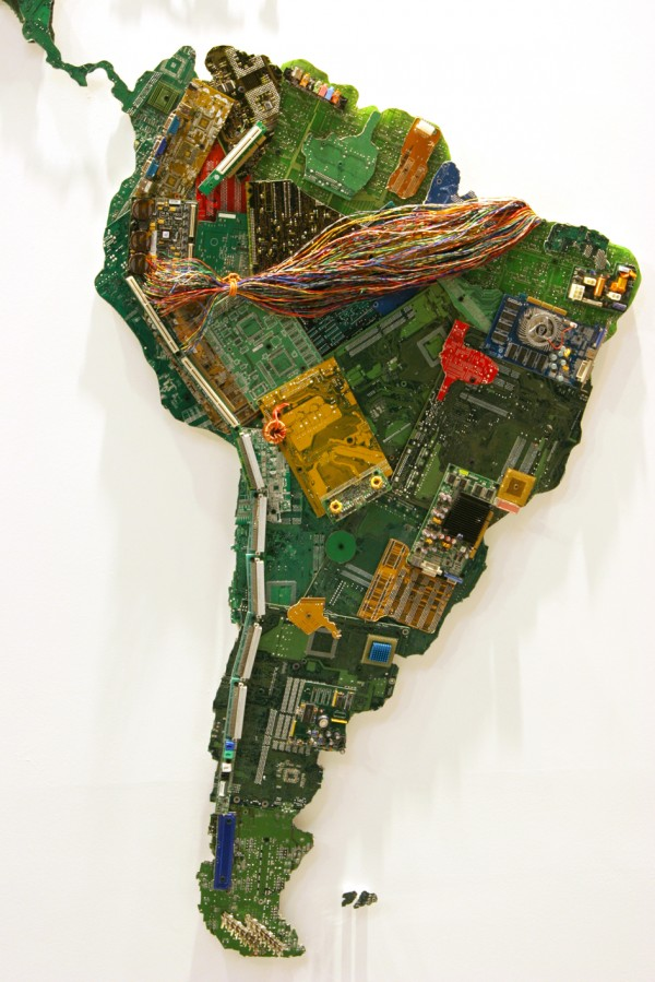 A map of the world made out of recycled computer parts by UK based artist Susan Stockwell