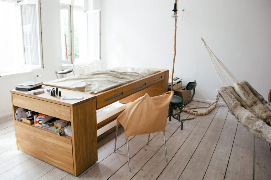 The Workbed by Mira Schröder, exhibition designer for experimental design group BLESS. Mira created a unique furniture piece – a piece of furniture that flips from spacious desk into an instant bed. The Workbed's mattress is unveiled by a rotating mechanism. Sheets are specially designed to latch to the underside of the table when it is turned upside down. It's a perfect solution for small, urban living, it's also ideal for offering nap options in a work setting. Work and then if you need – just take a nap after transforming the desk into the bed – it's easy and comfortable!
