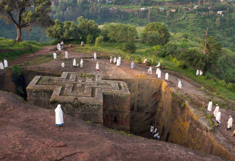 The Church of St. George is one of eleven monolithic churches in Lalibela, a city in the A