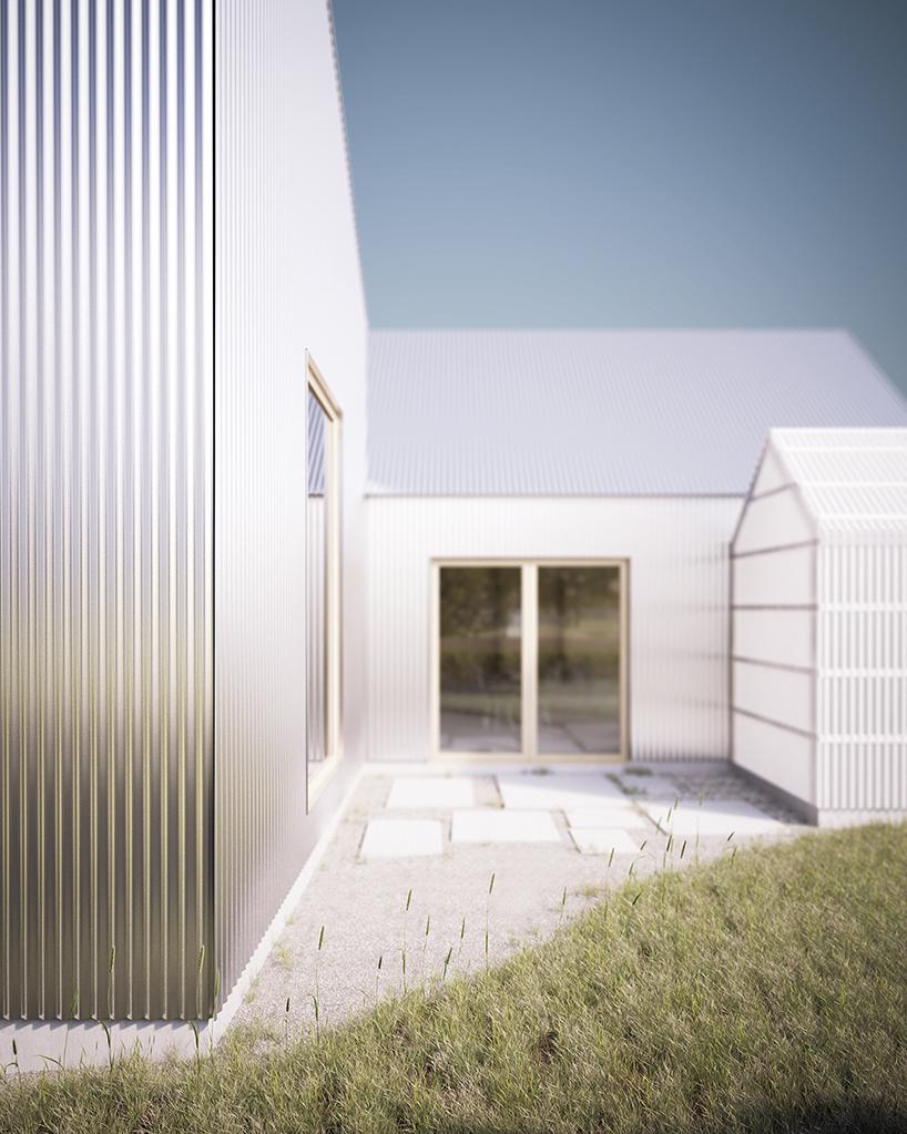 Corrugated aluminum 'house for mother' in Sweden, designed by förstberg arkitektur och formgivning (FAF)