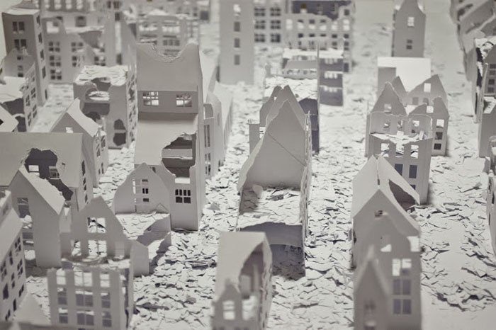 Installations of broken miniature paper houses by Daniele Del Nero (5)