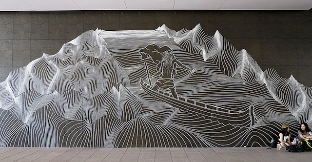 Masking Tape Street Art Australian street artist Buff Diss based in Melbourn, only create with masking tape. Creation's size and geometry really tell us about the volume of masking tape and work (8)