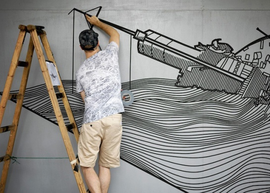 Masking Tape Street Art Australian street artist Buff Diss based in Melbourn, only create with masking tape. Creation's size and geometry really tell us about the volume of masking tape and work (9)